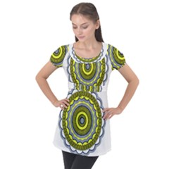 Mandala Pattern Round Ethnic Puff Sleeve Tunic Top by Pakrebo