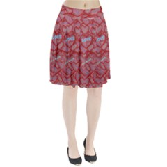 Love Hearts Valentine Red Symbol Pleated Skirt