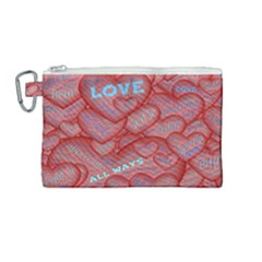 Love Hearts Valentine Red Symbol Canvas Cosmetic Bag (medium) by Pakrebo