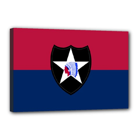 Flag Of United States Army 2nd Infantry Division Canvas 18  X 12  (stretched)
