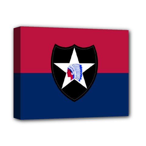 Flag Of United States Army 2nd Infantry Division Deluxe Canvas 14  X 11  (stretched) by abbeyz71