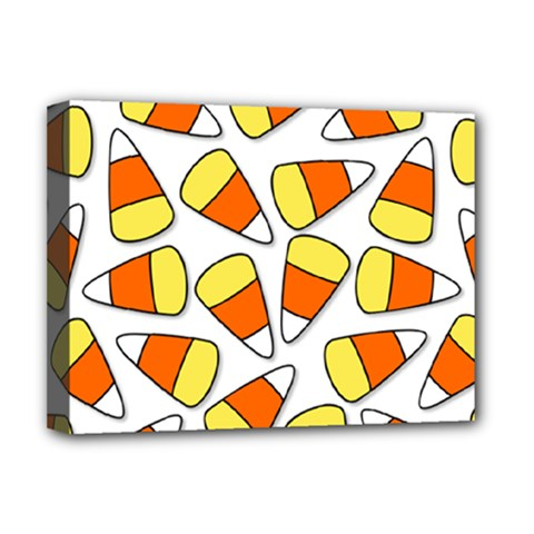 Candy Corn Halloween Candy Candies Deluxe Canvas 16  X 12  (stretched)  by Pakrebo
