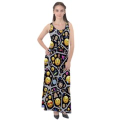 Mental Emojis Emoticons Icons Sleeveless Velour Maxi Dress