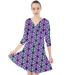 Geometric Patterns Triangle Quarter Sleeve Front Wrap Dress