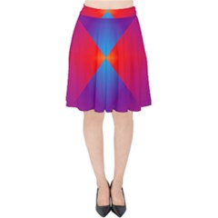 Geometric Blue Violet Red Gradient Velvet High Waist Skirt by Alisyart