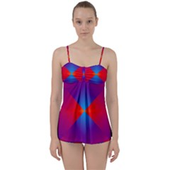 Geometric Blue Violet Red Gradient Babydoll Tankini Set