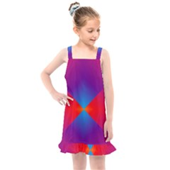 Geometric Blue Violet Red Gradient Kids  Overall Dress by Alisyart