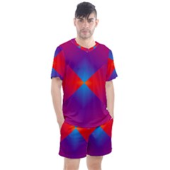 Geometric Blue Violet Red Gradient Men s Mesh Tee And Shorts Set by Alisyart