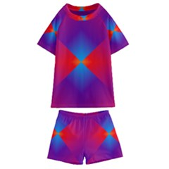 Geometric Blue Violet Red Gradient Kids  Swim Tee And Shorts Set by Alisyart