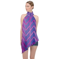 Geometric Background Abstract Halter Asymmetric Satin Top by Alisyart