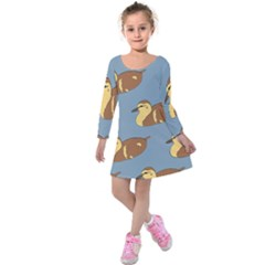 Farm Agriculture Pet Furry Bird Kids  Long Sleeve Velvet Dress by Alisyart