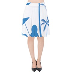 Fresh Blue Coconut Tree Velvet High Waist Skirt by Alisyart