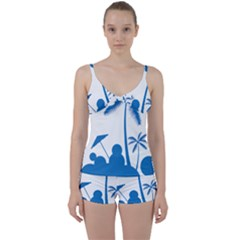 Fresh Blue Coconut Tree Tie Front Two Piece Tankini