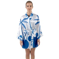 Fresh Blue Coconut Tree Long Sleeve Kimono Robe
