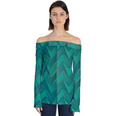 Geometric Background Off Shoulder Long Sleeve Top
