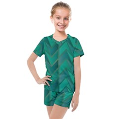 Geometric Background Kids  Mesh Tee And Shorts Set