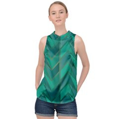 Geometric Background High Neck Satin Top by Alisyart