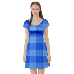 Fabric Grid Textile Deco Short Sleeve Skater Dress by Alisyart