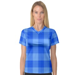 Fabric Grid Textile Deco V Neck Sport Mesh Tee