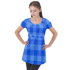 Fabric Grid Textile Deco Puff Sleeve Tunic Top by Alisyart