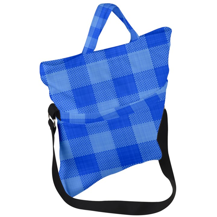 Fabric Grid Textile Deco Fold Over Handle Tote Bag
