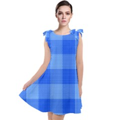 Fabric Grid Textile Deco Tie Up Tunic Dress