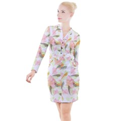 Flower Floral Button Long Sleeve Dress by Alisyart