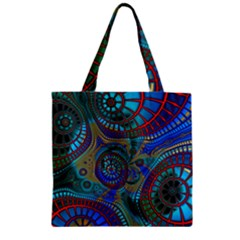 Fractal Abstract Line Wave Unique Zipper Grocery Tote Bag