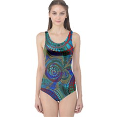Fractal Abstract Line Wave Unique One Piece Swimsuit