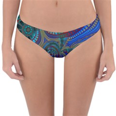 Fractal Abstract Line Wave Unique Reversible Hipster Bikini Bottoms by Alisyart