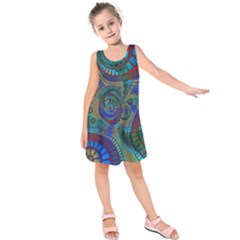Fractal Abstract Line Wave Unique Kids  Sleeveless Dress by Alisyart
