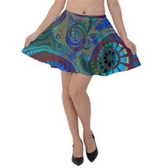 Fractal Abstract Line Wave Unique Velvet Skater Skirt by Alisyart