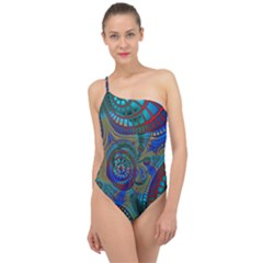 Fractal Abstract Line Wave Unique Classic One Shoulder Swimsuit by Alisyart