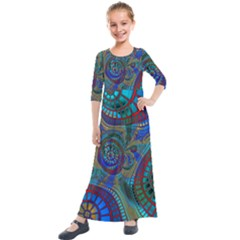Fractal Abstract Line Wave Unique Kids  Quarter Sleeve Maxi Dress by Alisyart