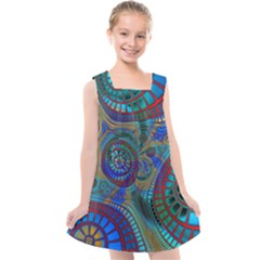 Fractal Abstract Line Wave Unique Kids  Cross Back Dress by Alisyart