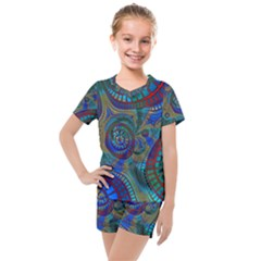 Fractal Abstract Line Wave Unique Kids  Mesh Tee And Shorts Set by Alisyart
