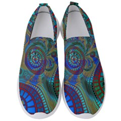 Fractal Abstract Line Wave Unique Men s Slip On Sneakers by Alisyart