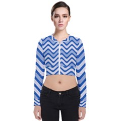 Waves Wavy Lines Pattern Long Sleeve Zip Up Bomber Jacket by Alisyart