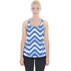 Waves Wavy Lines Pattern Piece Up Tank Top
