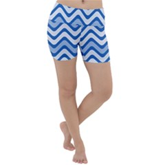 Waves Wavy Lines Pattern Lightweight Velour Yoga Shorts