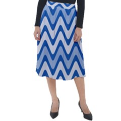 Waves Wavy Lines Pattern Classic Velour Midi Skirt