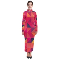Halftone Geometric Turtleneck Maxi Dress