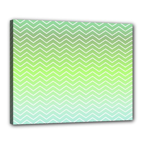 Green Line Zigzag Pattern Chevron Canvas 20  X 16  (stretched) by Alisyart