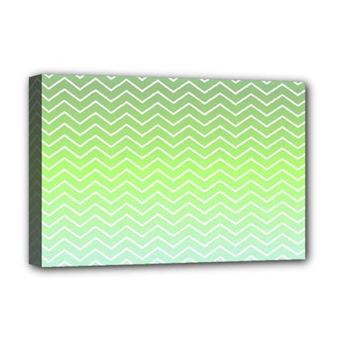 Green Line Zigzag Pattern Chevron Deluxe Canvas 18  X 12  (stretched)