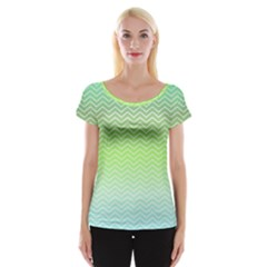 Green Line Zigzag Pattern Chevron Cap Sleeve Top