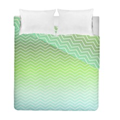 Green Line Zigzag Pattern Chevron Duvet Cover Double Side (full/ Double Size)