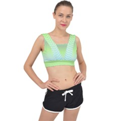 Green Line Zigzag Pattern Chevron V-back Sports Bra by Alisyart