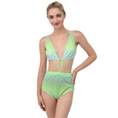 Green Line Zigzag Pattern Chevron Tied Up Two Piece Swimsuit