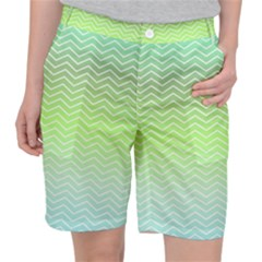Green Line Zigzag Pattern Chevron Pocket Shorts by Alisyart