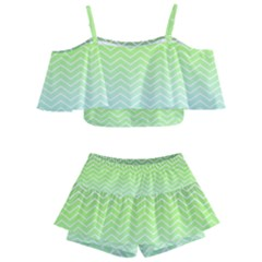 Green Line Zigzag Pattern Chevron Kids  Off Shoulder Skirt Bikini by Alisyart